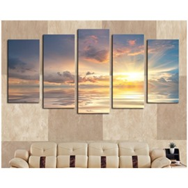 Yellow Sunrise on The Sea 5-Panel Canvas Hung Non-framed Wall Prints
