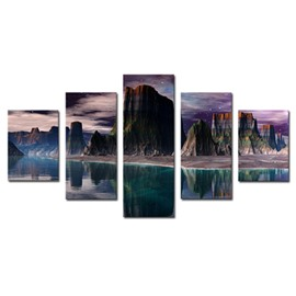 Green Lake and Mountain 5-Panel Canvas Hung Non-framed Wall Prints