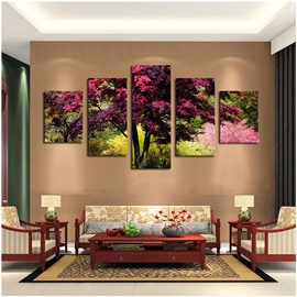Red Leaves and Green Branches 5-Panel Canvas Hanging Non-framed Wall Prints