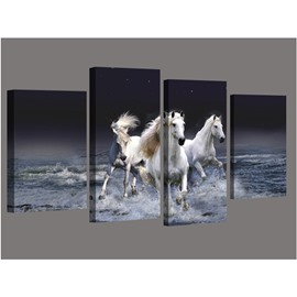 White Running Horses 4-Panel Canvas Hung Non-framed Wall Prints