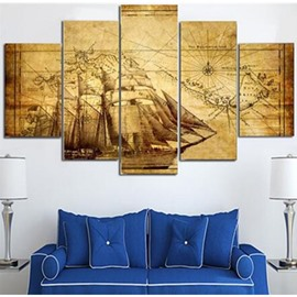 Yellow Vintage Sailboat and Map 5-Panel Canvas Hanging Eco-friendly Non-framed Prints
