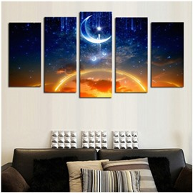 Sunset and Moonsky Hanging 5-piece Canvas Waterproof and Eco-friendly Non-framed Prints