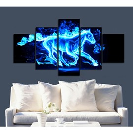 Blue Running Horse 5-Piece Canvas Hung Non-framed Wall Prints