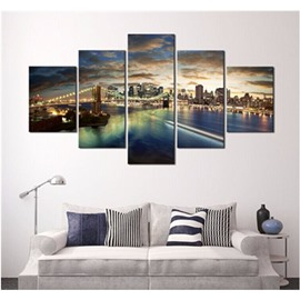 City Dusk 5-Piece Hanging Canvas Non-framed Wall Prints