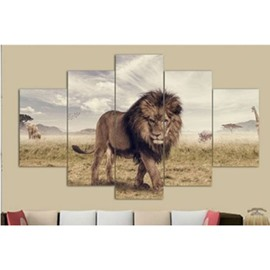 Walking Lion 5-Piece Hanging Canvas Non-framed Wall Prints