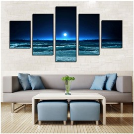 Blue Sky and Sea Scenery Hanging 5-Piece Canvas Non-framed Wall Prints