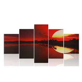 Yellow Sun and Red Sky 5-Piece Canvas Hung Non-framed Wall Prints