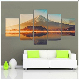 Snow Mountain and Lake Hanging 5-Piece Canvas Waterproof and Eco-friendly Non-framed Wall Prints