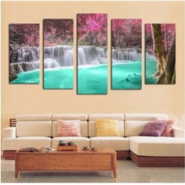 Green Lake and Waterfall Hanging 5-Piece Canvas Non-framed Wall Prints