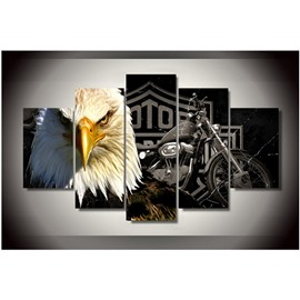 Eagle and Motorcycle 5-Piece Canvas Non-framed Wall Prints