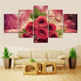 Red Roses Hanging 5-Piece Canvas Non-framed Wall Prints