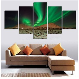 Green Aurora Hanging 5-Piece Canvas Non-framed Wall Prints