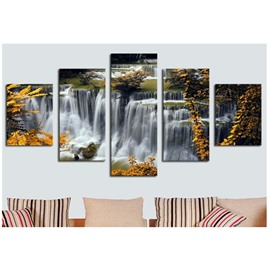 Yellow Leaves and Waterfall 5-Piece Canvas Non-framed Wall Prints