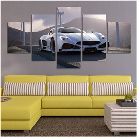 White Sports Car in The Mountain 5-Piece Canvas Hung Non-framed Wall Prints