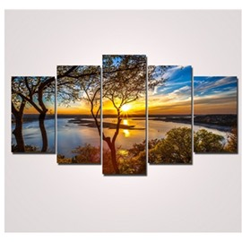 Sunrise and Lake 5-Piece Canvas Haning Non-framed Wall Prints