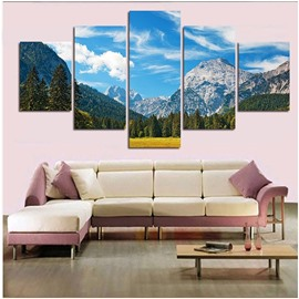 Blue Sky and Mountain 5-Piece Canvas Hung Non-framed Wall Prints