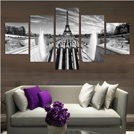 Vintage Tower and Fountain 5-Piece Canvas Hung Non-framed Wall Prints