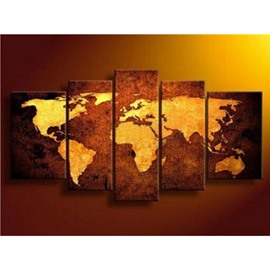 Yellow World Map 5-Piece Canvas Hung Non-framed Prints