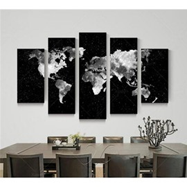 Black Background and World Map 5-Piece Canvas Hung Non-framed Prints