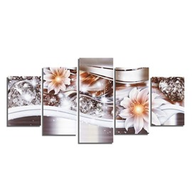 Flowers and Diamonds 5-Piece Canvas Hung Non-framed Wall Prints