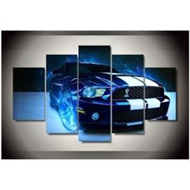 Blue Car 5-Piece Canvas Hung Non-framed Wall Prints