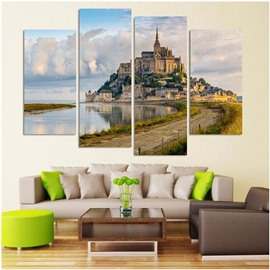 Castle on The Lakeside 4-Piece Canvas Hung Non-framed Wall Prints