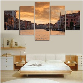 City Dusk 5-Piece Canvas Hung Non-framed Wall Prints