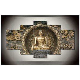 Gold Buddha Hanging Canvas Waterproof and Eco-friendly 5-Piece Non-framed Wall Prints