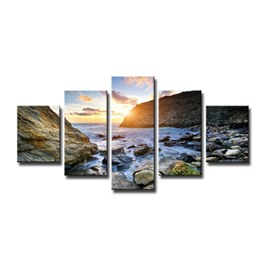 Sunrise and Seaside Scenery 5-Piece Canvas Hung Non-framed Wall Prints