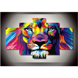 Lion Head 5-Piece Canvas Hanging Canvas Waterproof and Eco-friendly Non-framed Wall Prints
