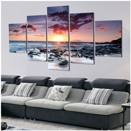 Sunrise and Sea 5-Piece Canvas Hung Non-framed Wall Prints