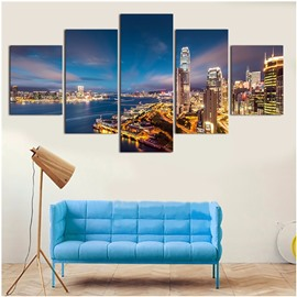City Night Scenery 5-Piece Canvas Non-framed Wall Prints