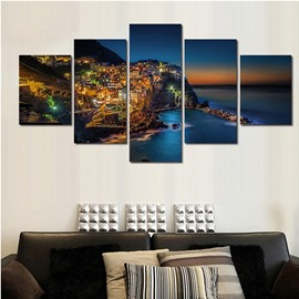 Buildings and Seaside Night 5-Piece Canvas Non-framed Wall Prints