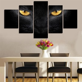 Black Cat with Yellow Eyes Hanging 5-Piece Canvas Non-framed Wall Prints