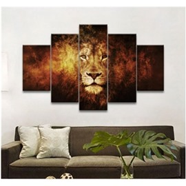 Brown Lion Hanging 5-Piece Canvas Non-framed Wall Prints
