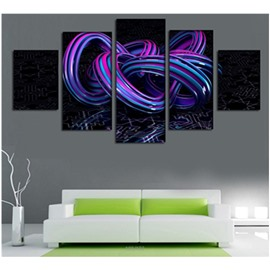 3D Purple and Blue Ribbon 5-Piece Canvas Non-framed Wall Prints