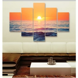 Gold Sunrise and Sea 5-Piece Canvas Non-framed Wall Prints
