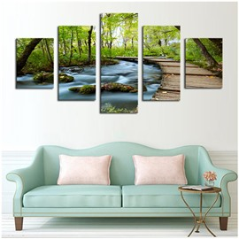 Green Trees Surrounding River Hanging 5-Piece Canvas Non-framed Wall Prints
