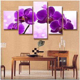 Purple Phalaenopsis Hanging 5-Piece Canvas Non-framed Wall Prints