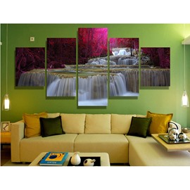 Red Trees Surrounding Waterfall Hanging 5-Piece Canvas Non-framed Wall Prints