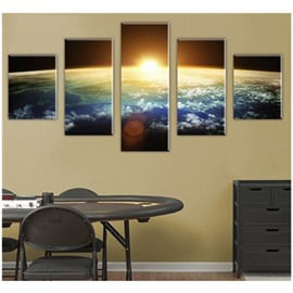 Yellow Sun Hanging 5-Piece Canvas Non-framed Wall Prints
