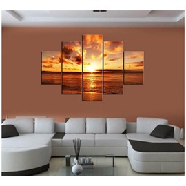 Yellow Sunrise on The Sea Hanging 5-Piece Canvas Non-framed Wall Prints