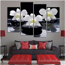 White Phalaenopsis Hanging 4-Piece Canvas Eco-friendly Dampproof Non-framed Wall Prints