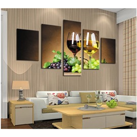 Grapes with Green Leaves and Wine Glasses 5-Piece Canvas Non-framed Wall Prints
