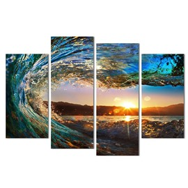 Golden Sunrise and Tide Hanging 4-Piece Canvas Non-framed Wall Prints