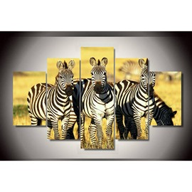 Standing Zebra Hanging 5-Piece Canvas Non-framed Wall Prints