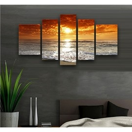 Yellow Sunset above Sea Level Hanging 5-Piece Canvas Non-framed Wall Prints