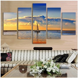 Sailboat on The Sea Hanging 5-Piece Natural Style Canvas Non-framed Wall Prints