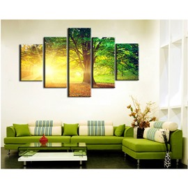 Golden Sunshine and Green Trees 5-Piece Canvas Non-framed Wall Prints