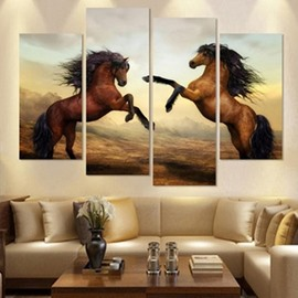 Brown Horses Hanging 4-Piece Canvas Non-framed Wall Prints